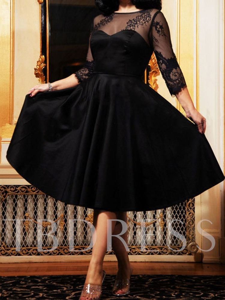 Round Neck Mid-Calf Patchwork Three-Quarter Sleeve Sweet Women's Day Dress