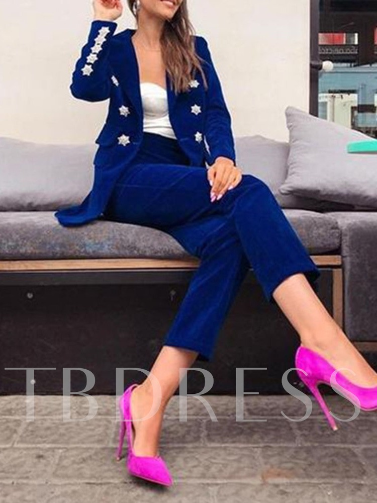 Office Lady Simple Plain Button Double-Breasted Women's Two Piece Sets