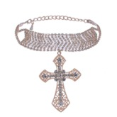 Diamante Cross Pendant Necklace
