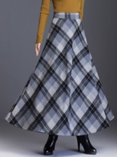 Color Block Ankle-Length Expansion Casual Women's Skirt