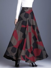 A-Line Ankle-Length Color Block Casual Women's Skirt