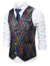 Sequins Color Block V-Neck Double-Breasted Men's Waistcoat