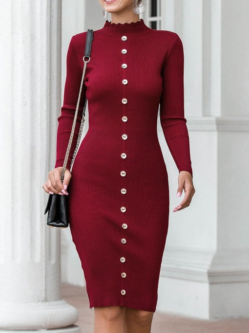 Knee-Length Long Sleeve Stand Collar Women's Dress