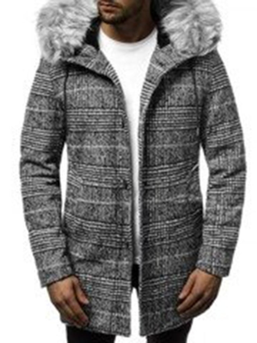 Mid-Length Hooded Patchwork Color Block Casual Men's Coat