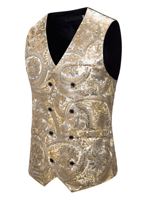 Color Block V-Neck Sequins Casual Men's Waistcoat