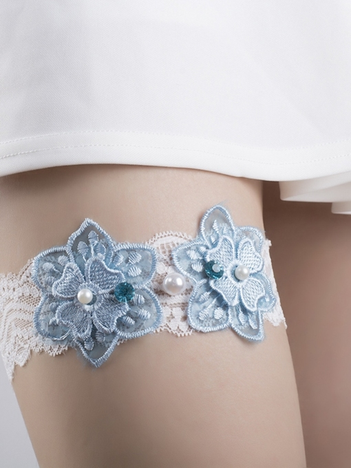 Floral Lace Pearls Wedding Garters