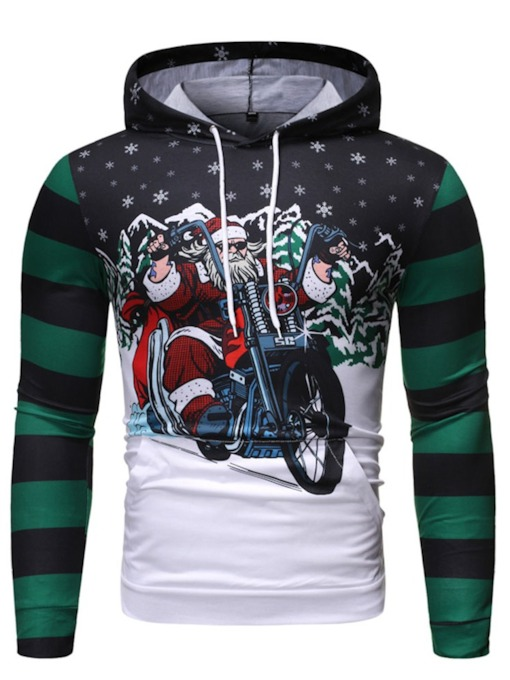 Christmas Color Block Pullover Pocket Men's Hoodies
