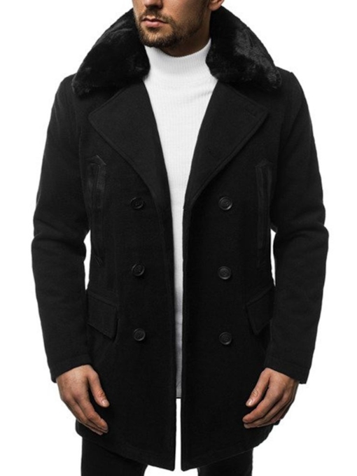 Button Plain Mid-Length Men's Coat