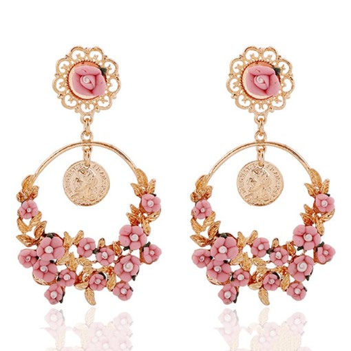 Alloy Floral E-Plating Prom Drop Earrings