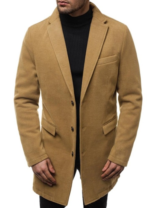 Button Mid-Length Plain Single-Breasted Men's Coat