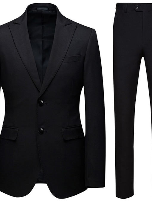 Blazer Button Plain Formal Men's Dress Suit