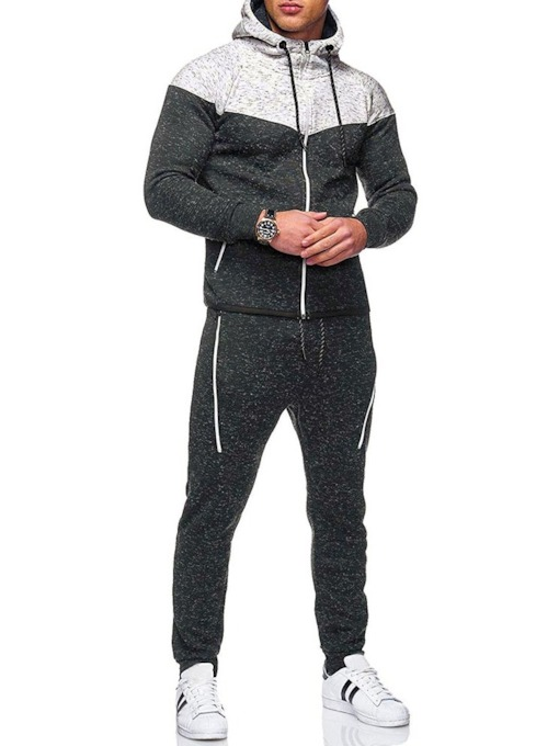 Pants Zipper Color Block Sports Men's Outfit