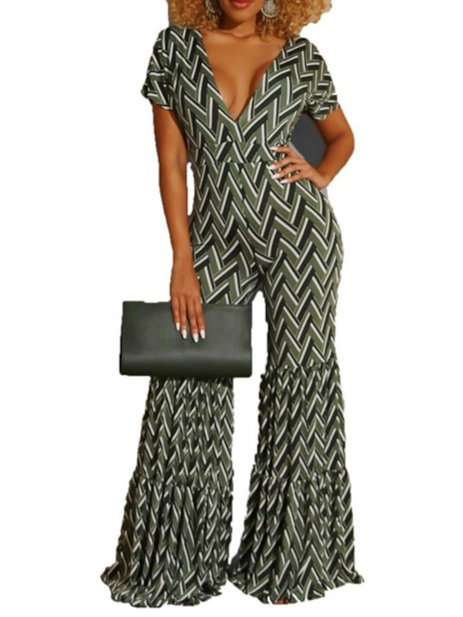 Print Color Block Full Length Sexy Slim Women's Jumpsuit