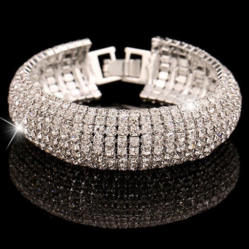 Romantic Plain Diamante Women's Bracelets