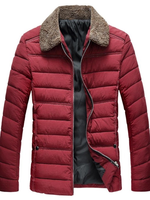 Color Block Lapel Zipper Mid-Length European Men's Down Jacket