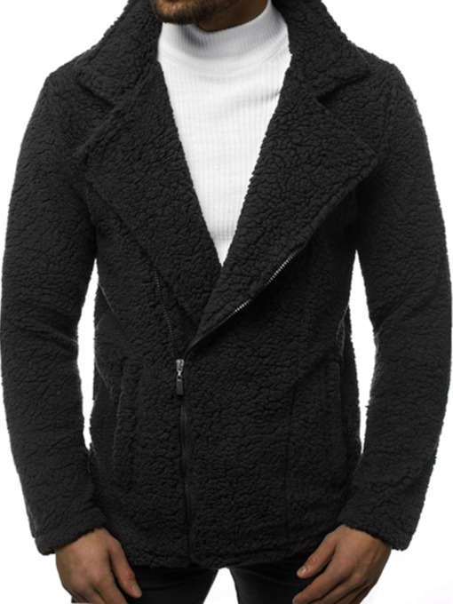 Plain Standard Zipper Straight Men's Coat