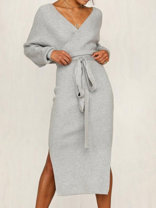 Mid-Calf Long Sleeve Backless V-Neck Winter Women's Dress
