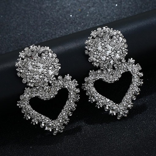 Heart-Shaped European Wedding Earrings