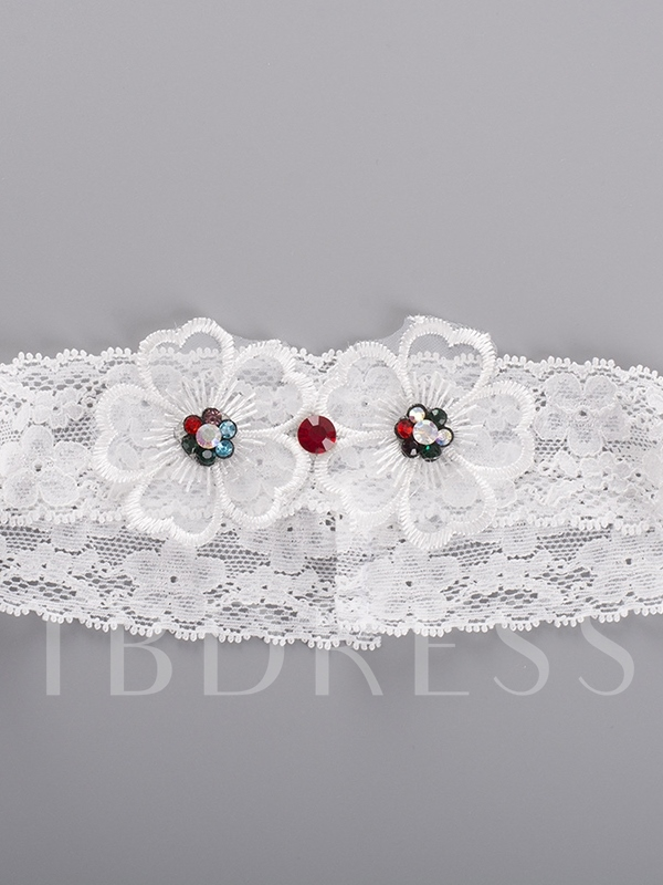 Floral Bead Lace Wedding Garters