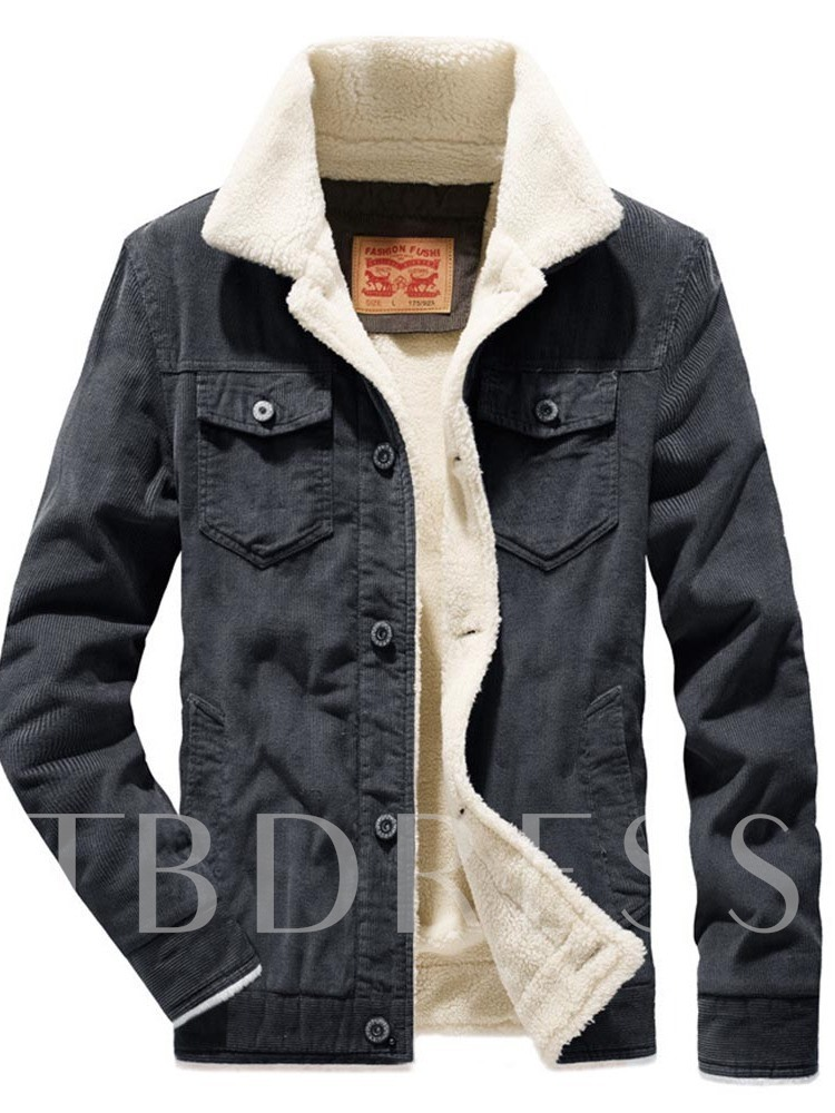 Patchwork Thick Lapel Single-Breasted Men's Jacket