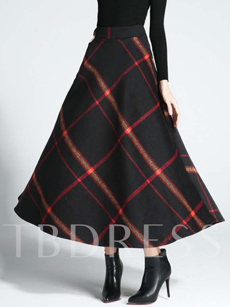 Expansion Mid-Calf Color Block Casual Women's Skirt