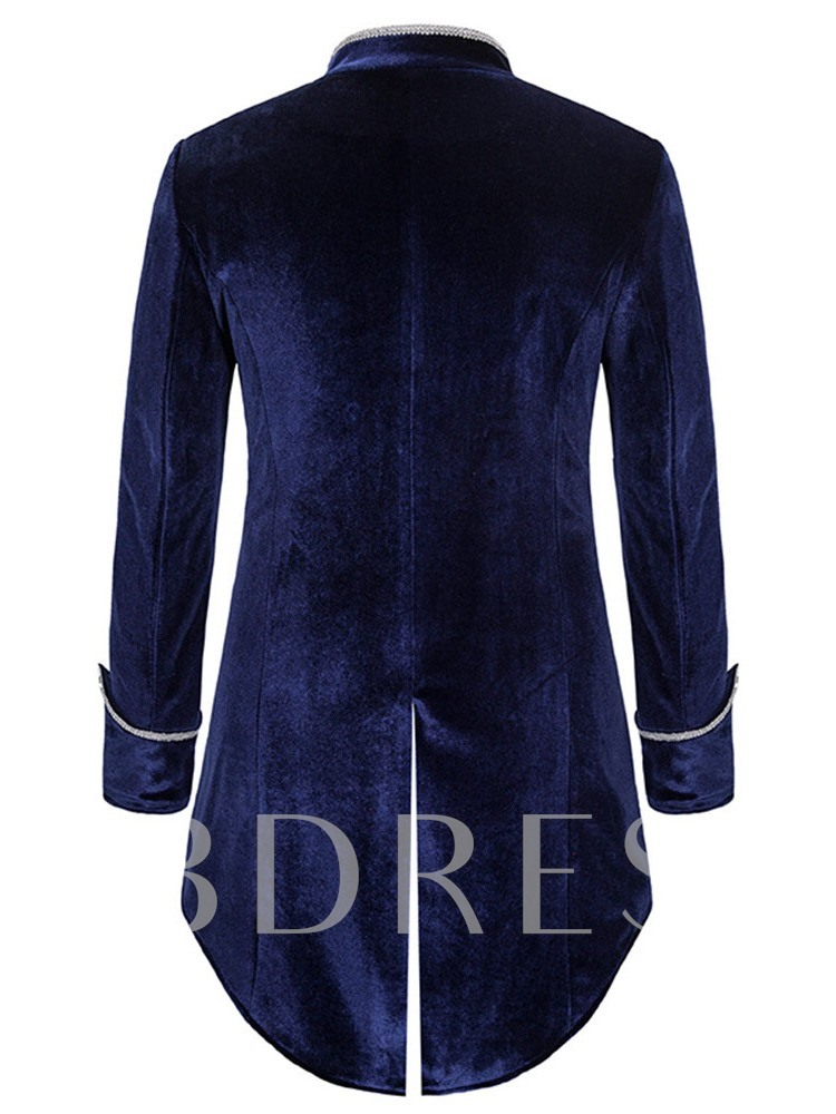 Stand Collar Mid-Length Color Block Loose Men's Trench Coat