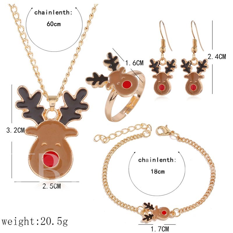 Christmas Oil Drip Ring Animal Party Jewelry Sets