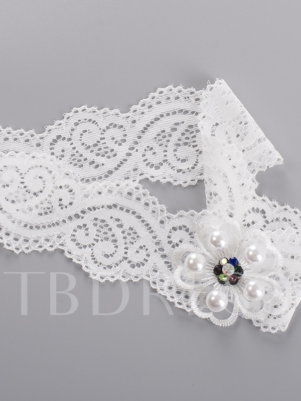 Pearls Floral Lace Bridal Garters