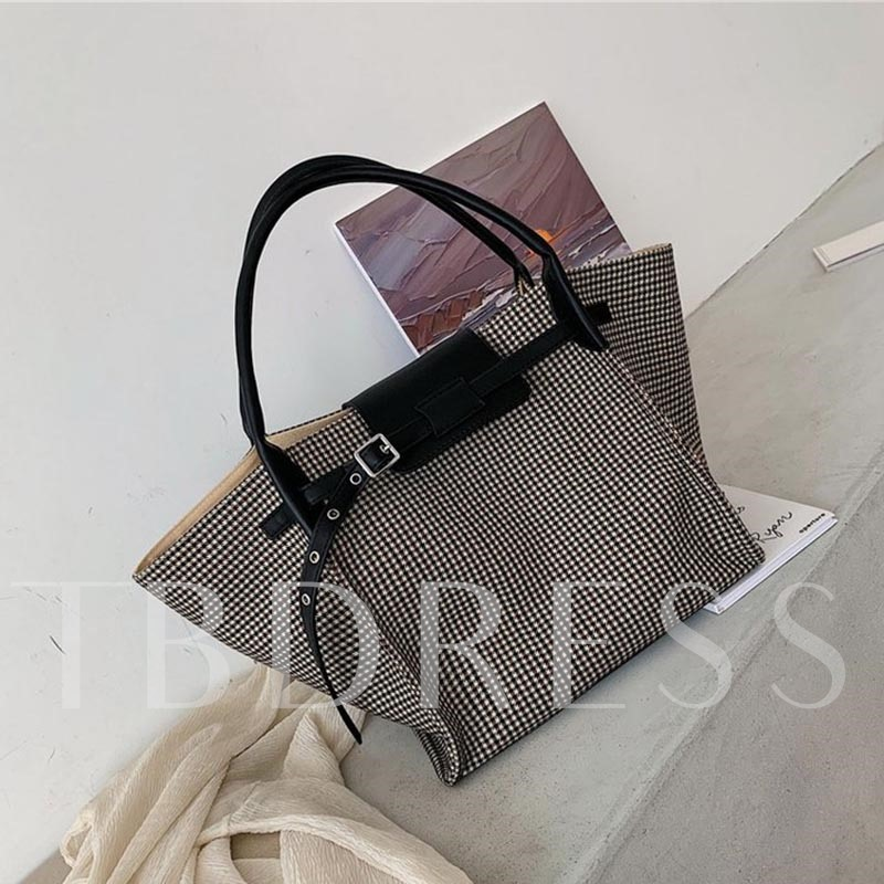 Houndstooth Belt-Decorated Fashion Tote Bags