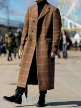 Button Long Notched Lapel Color Block Single-Breasted Men's Coat