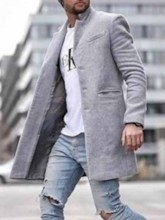 Mid-Length Pocket Plain Men's Coat