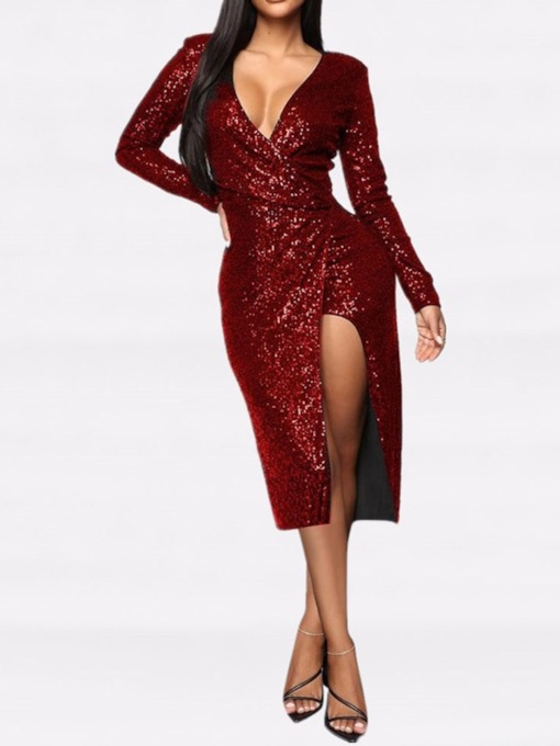 Sequins Mid-Calf Long Sleeve V-Neck Regular Women's Dress