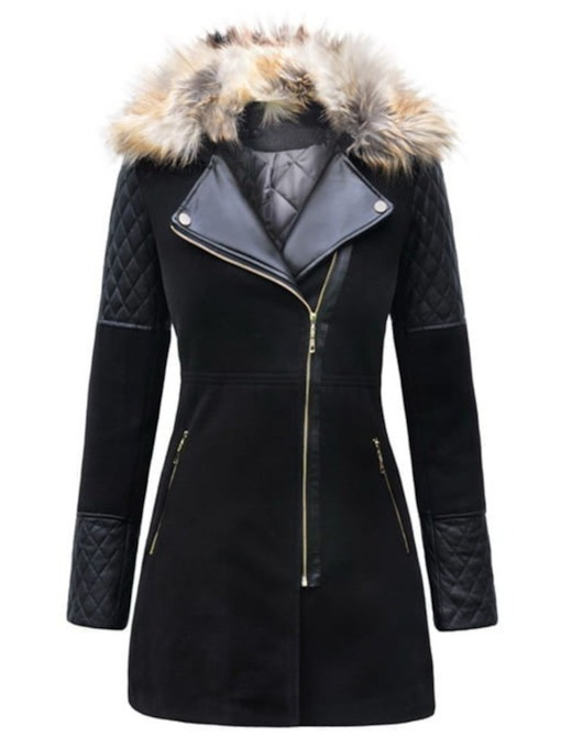 Zipper Regular Slim Lapel Women's Overcoat