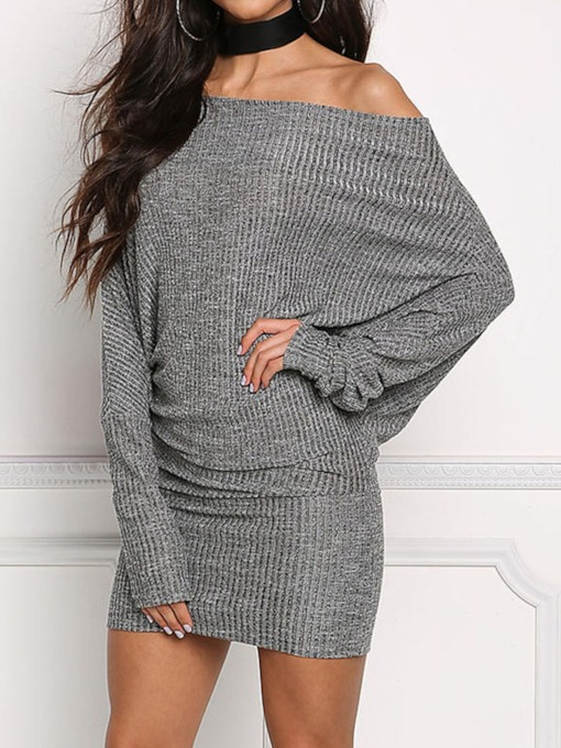 Off Shoulder Long Sleeve Above Knee Pullover Women's Dress