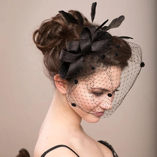 Handmade Feather Anniversary Birdcage Veil Hair Accessories
