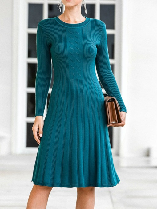 Knee-Length Long Sleeve Round Neck A-Line Women's Dress
