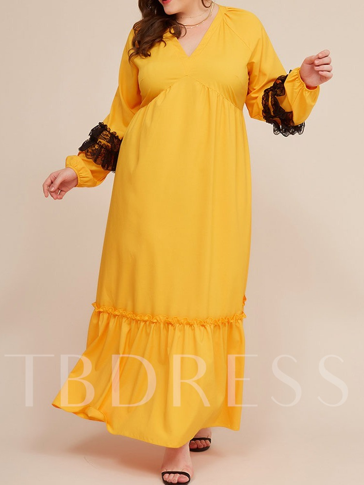 Plus Size V-Neck Ankle-Length Patchwork Long Sleeve Party/Cocktail Women's Dress