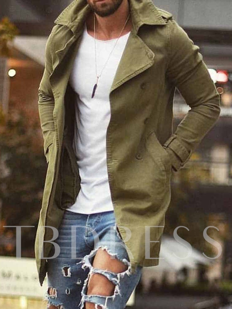 Plain Mid-Length Pocket Single Men's Trench Coat