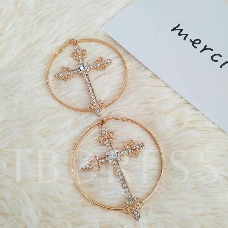 Alloy Cross Shape Diamante Hoop Earrings