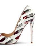 Stiletto Heel Lipstick Print Slip-On Pointed Toe Pumps