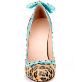 Pointed Toe Stiletto Heel Bowknot Patchwork Women's Pumps
