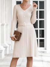 Knee-Length Long Sleeve V-Neck Belt Pullover Women's Dress