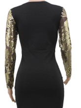 Three-Quarter Sleeve Round Neck Sequins Floor-Length Pullover Women's Dress