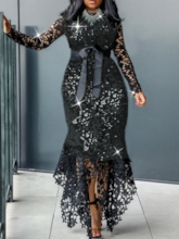 Asymmetric Long Sleeve Floor-Length Asymmetrical Women's Dress