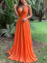 Criss-Cross Straps Ruched Long Prom Dress 2019