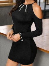 Above Knee Round Neck Long Sleeve Bead Pullover Women's Dress