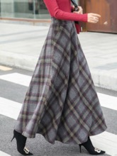 A-Line Ankle-Length Color Block Western Women's Skirt