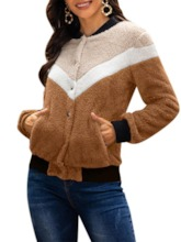 Color Block Single-Breasted Thick Women's Hoodie