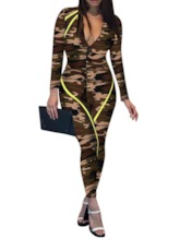 Full Length Casual Color Block Mid Waist Women's Jumpsuit