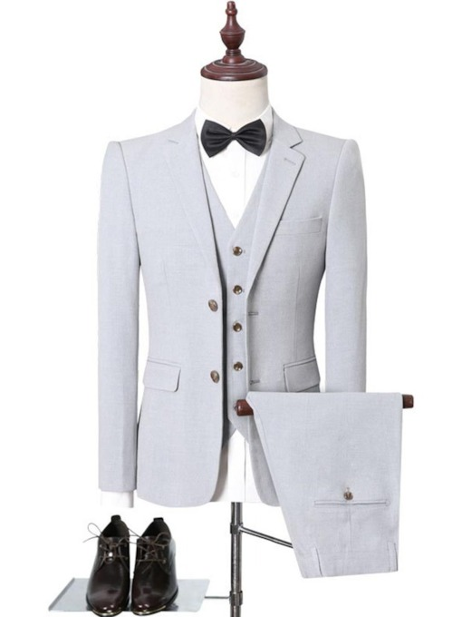 Pocket Casual Single-Breasted Plain Men's Dress Suit